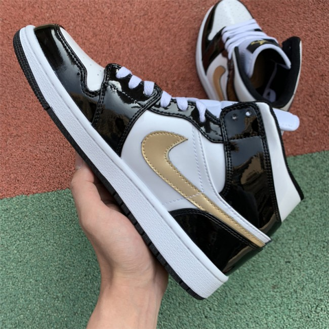 Mens Jordan 1 Mid Patent Black/White-Metallic Gold
