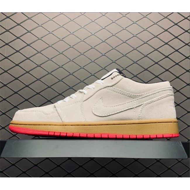 Mens Summer Air Jordan 1 Low White Gum Yellow Hyper Pink Shoes
