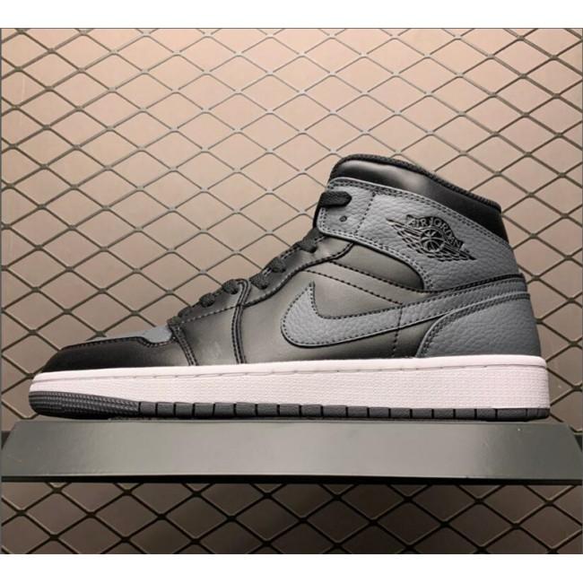 Mens/Womens Air Jordan 1 Mid Black Dark Grey Basketball Shoes
