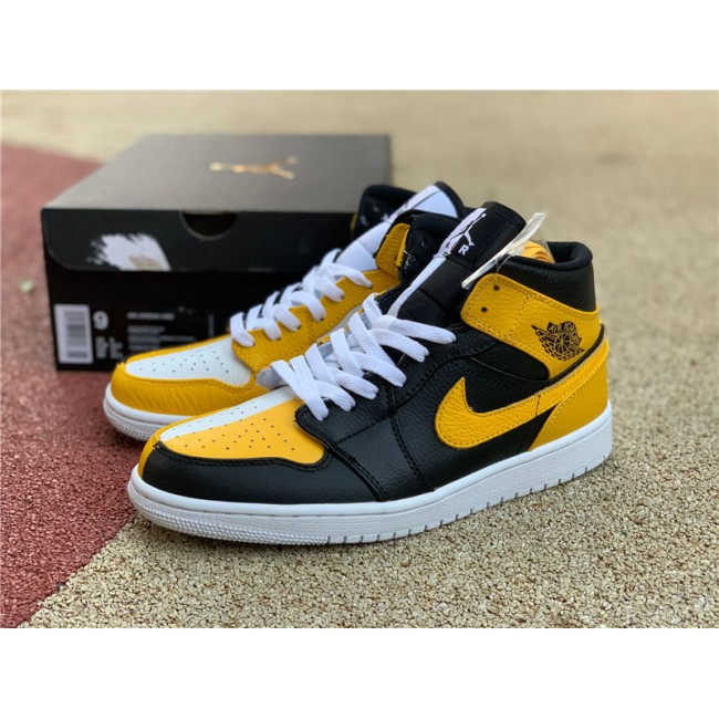 Mens/Womens Air Jordan 1 Mid Black White Yellow For Sale