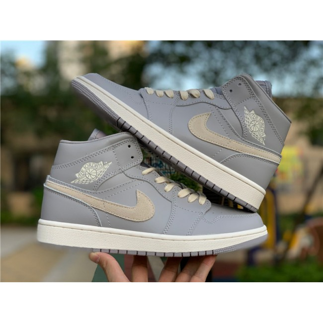 Mens Air Jordan 1 Mid Cool Grey/Light Bone CD7240-002