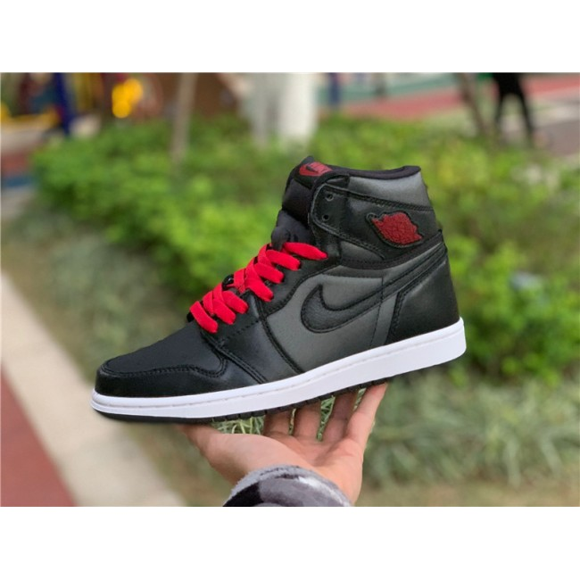 Mens/Womens Air Jordan 1 Retro High OG Satin Black Gym Red