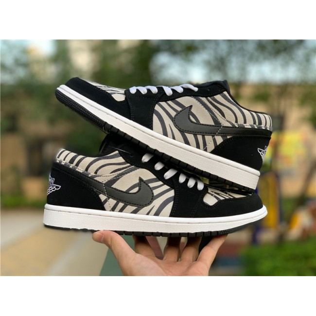 Mens/Womens Cheap Air Jordan 1 Low Zebra Black/White-Sail