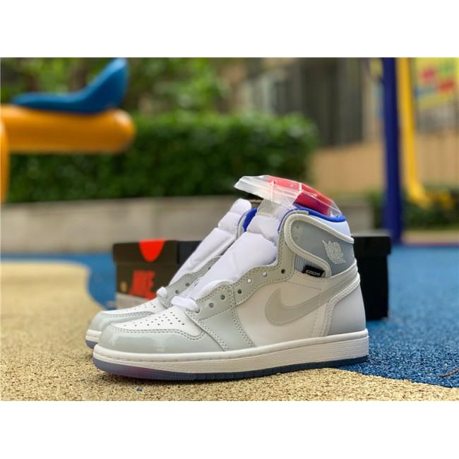 Mens/Womens New Air Jordan 1 High Zoom R2T White/Racer Blue