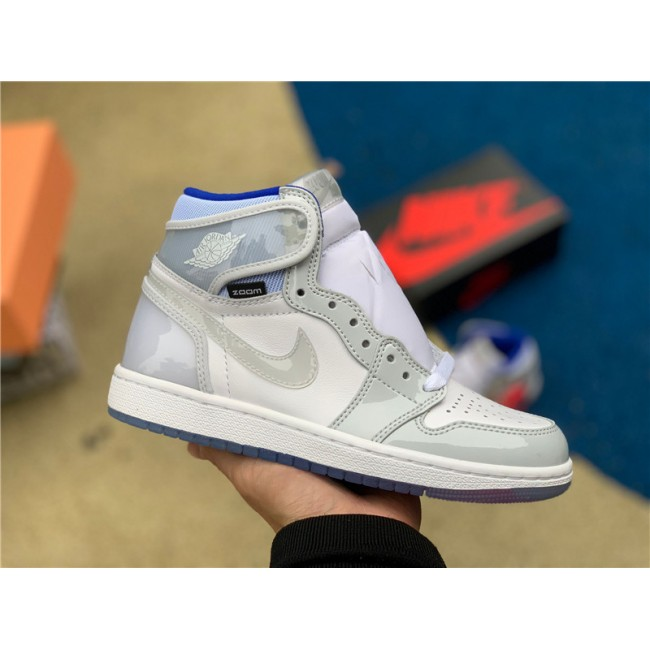 Mens/Womens New Air Jordan 1 High Zoom R2T White/Racer Blue
