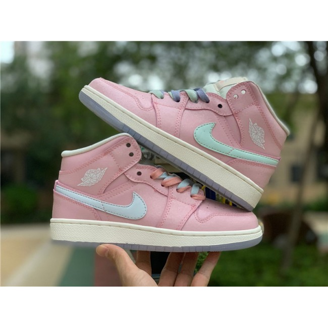 Mens Nike Air Jordan 1 Mid GG Pink White Basketball Shoes