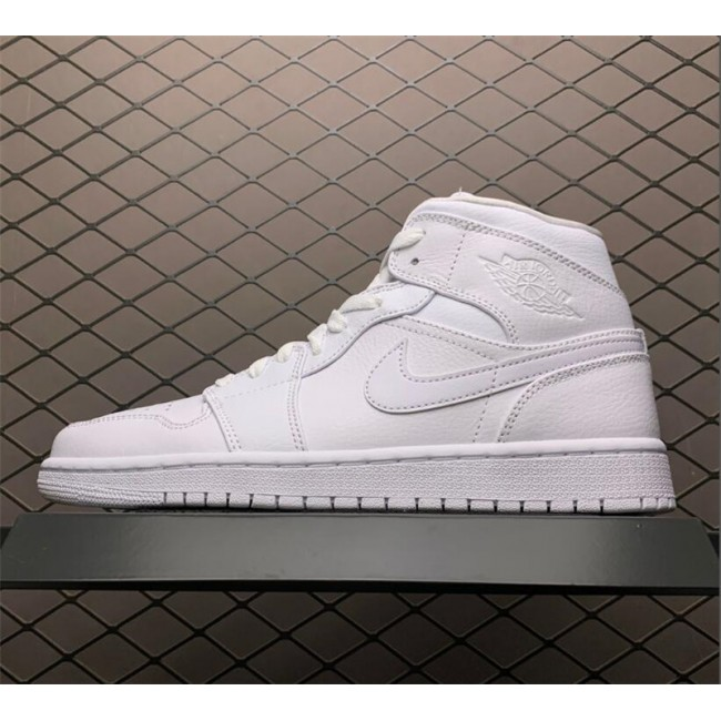 Mens Nike Air Jordan 1 Mid White For Sale 554724-129