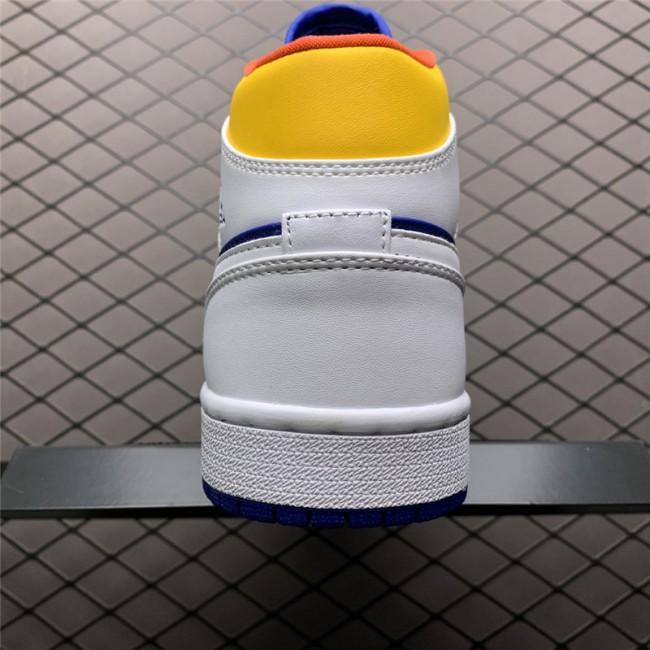 Mens/Womens 2021 Nike Jordan 1 Mid Royal Blue Laser Orange