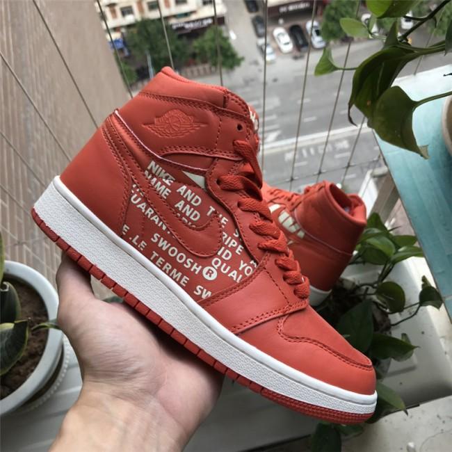 Mens Air Jordan 1 High OG Nike Swoosh Pack Orange/White