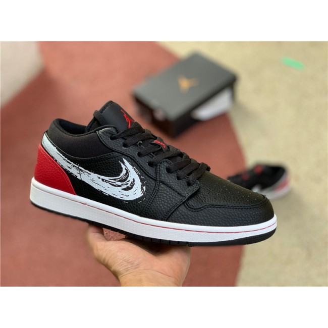 Mens/Womens Air Jordan 1 Low Brushstroke Swoosh University Red
