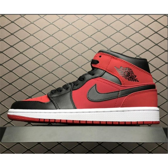 Mens Air Jordan 1 Mid Bred Gym Red/Black-White
