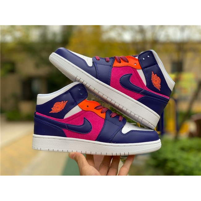 Womens Air Jordan 1 Mid Corduroy Purple Pink