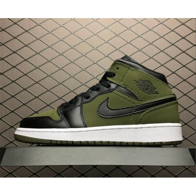 Womens Air Jordan 1 Mid Dark Olive Canvas/Black