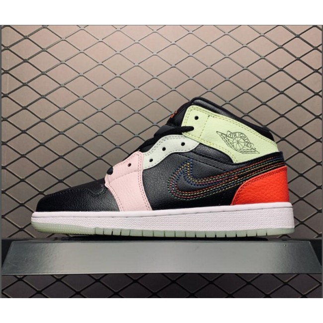 Womens Air Jordan 1 Mid GS Glows In The Dark Black Pink