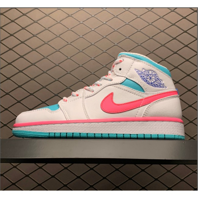 Womens Air Jordan 1 Mid GS Digital Pink Aurora Green