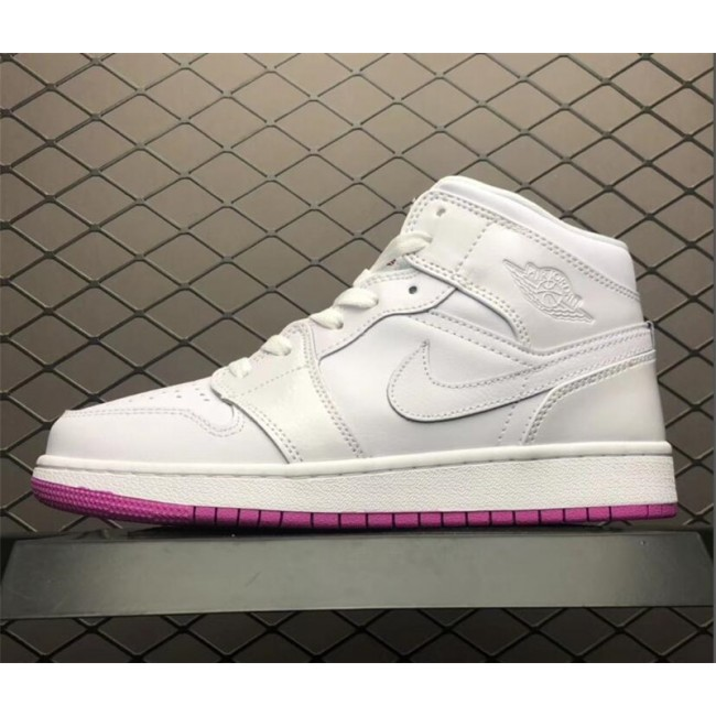 Womens Air Jordan 1 Mid GS White/Fuchsia Blast Size