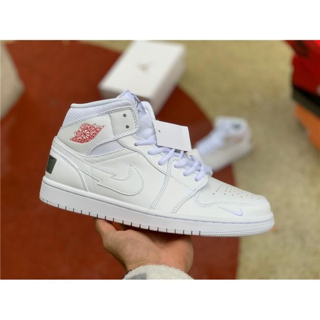 Mens/Womens Air Jordan 1 Mid London White/Red-Silver