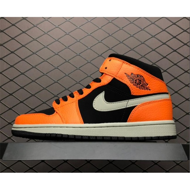 Mens Air Jordan 1 Mid Orange/Black Basketball Shoes