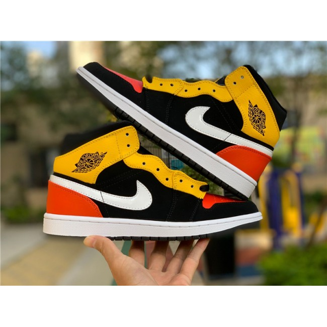 Mens Air Jordan 1 Mid Raygun Black Amarillo Orange