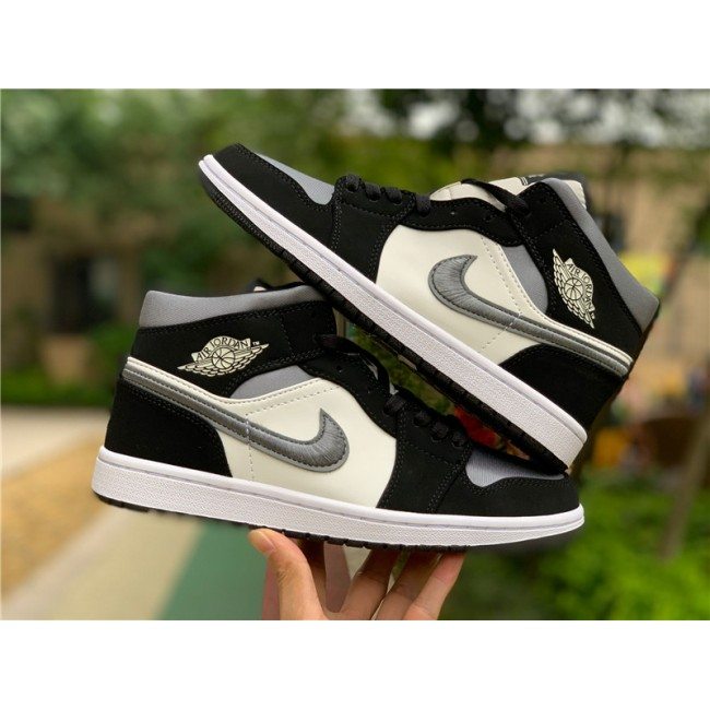 Mens Air Jordan 1 Mid Satin Grey Toe Basketball Shoes