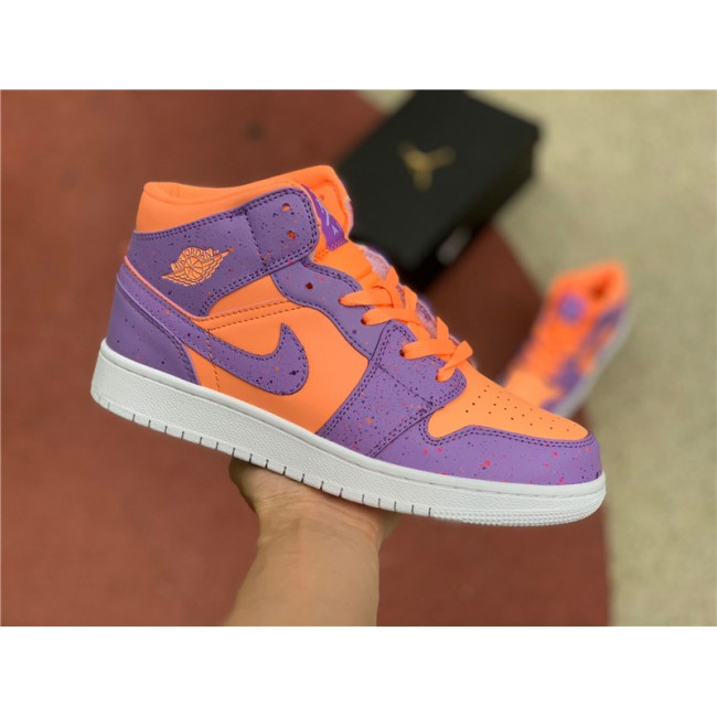 Womens 2021 Latest Air Jordan 1 Mid SE GS Atomic Pulse