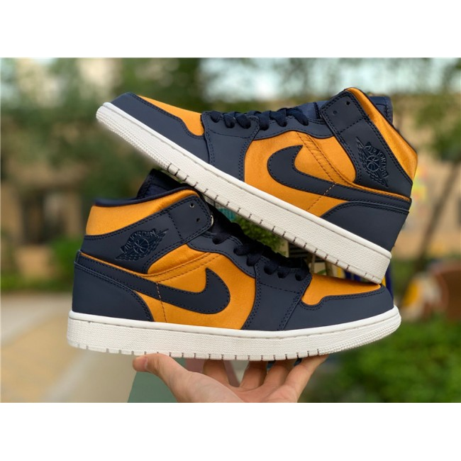 Mens/Womens Air Jordan 1 Mid SE Premium Stain Gold/Obsidian-White