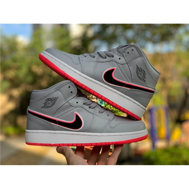 Mens/Womens Air Jordan 1 Mid Wolf Grey Racer Pink Black Sneakers
