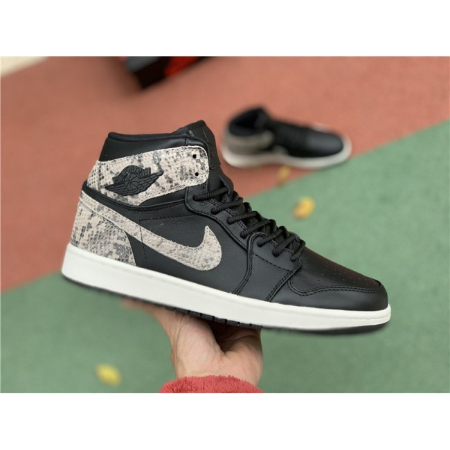 Mens Air Jordan 1 Retro High Premium Snakeskin Black White