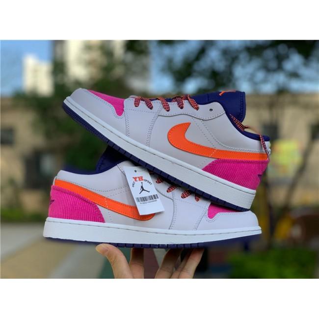 Womens Big Kids Air Jordan 1 Low Pink Corduroy