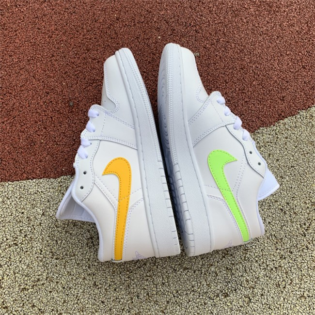 Womens Buy Air Jordan 1 Low GS White Neon Shoes