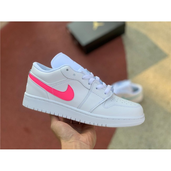 Womens Buy Air Jordan 1 Low GS White Neon Shoes