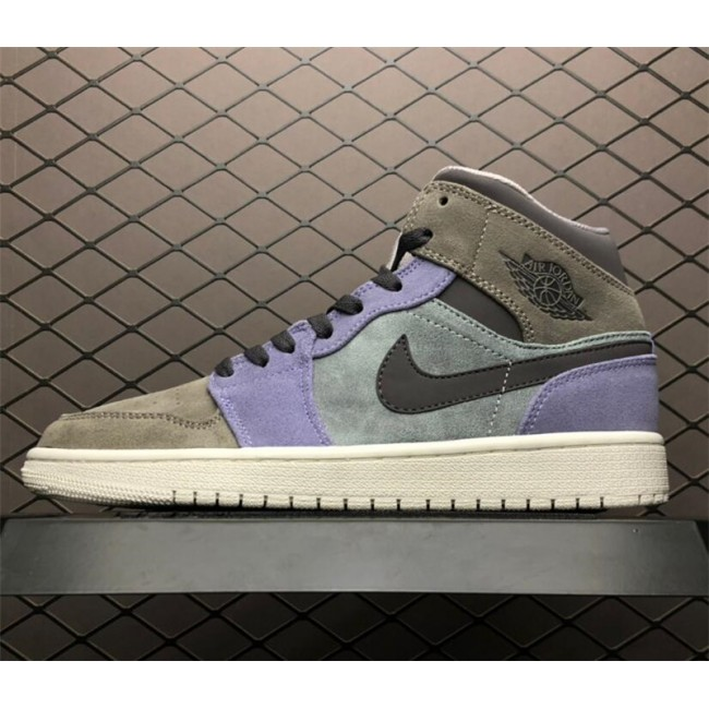 Mens Buy Air Jordan 1 Mid Suede Grey/Purple/White