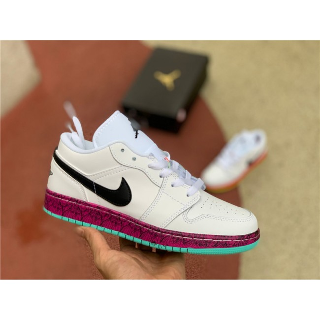 Womens Buy Cheap Air Jordan 1 Low GS Multi-Color