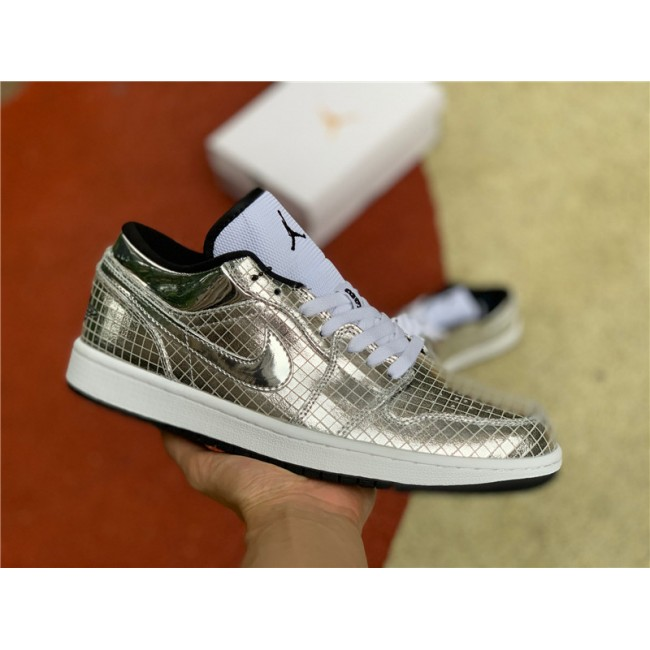 Mens/Womens Buy Cheap Air Jordan 1 Low White Metal Silver