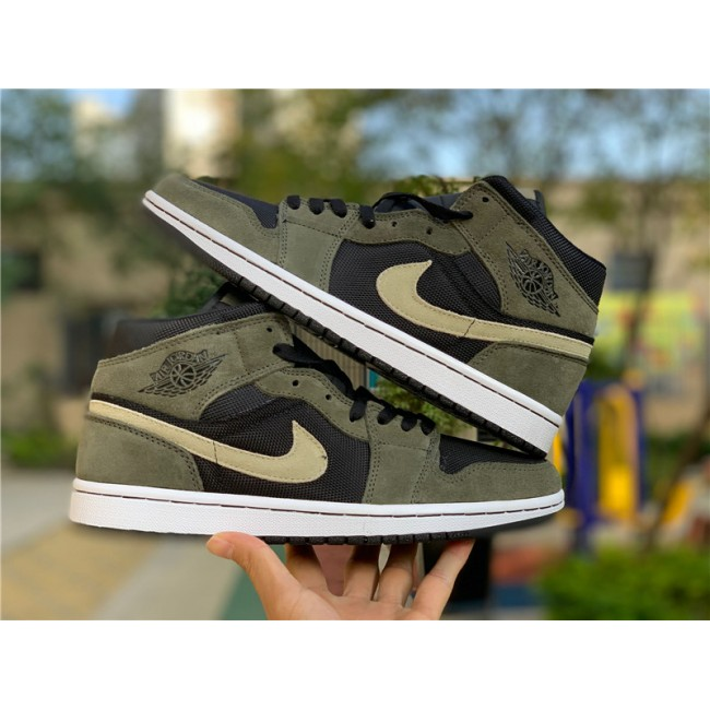 Mens Cheap Air Jordan 1 Mid Military Olive Green