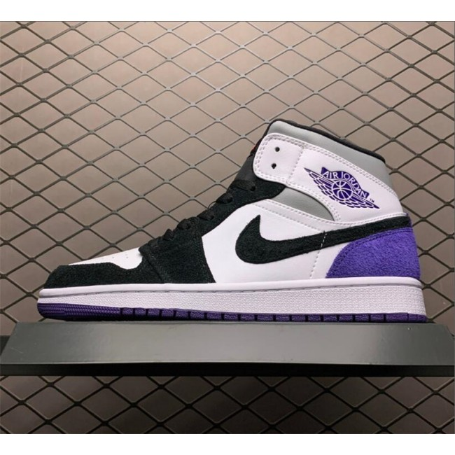 Mens/Womens Cheap Air Jordan 1 Mid Purple Black Suede Heels