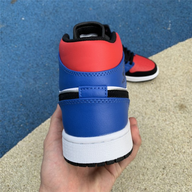 Mens Air Jordan 1 Mid Top 3 Blue Red Black White