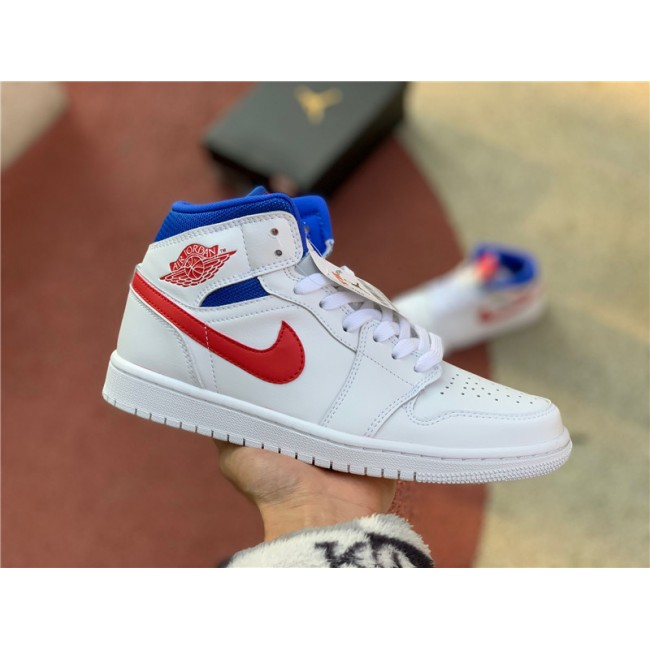 Mens/Womens Cheap Air Jordan 1 Mid USA White Red Game Royal