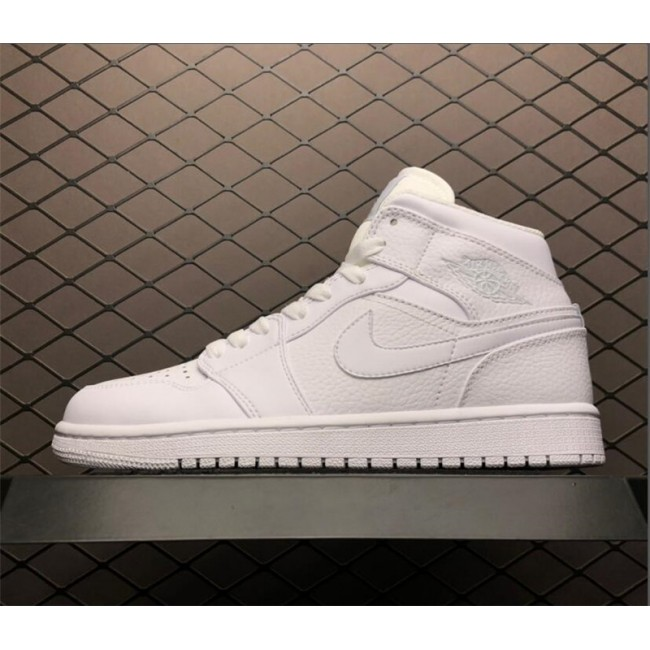 Mens Cheap Air Jordan 1 Mid White/Pure Platinum