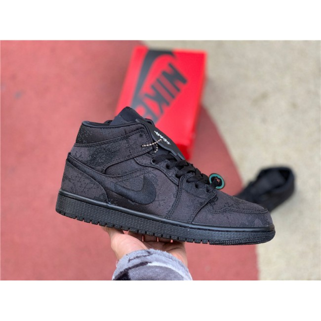 Mens/Womens Edison Chen x Air Jordan 1 Black Silk To Buy
