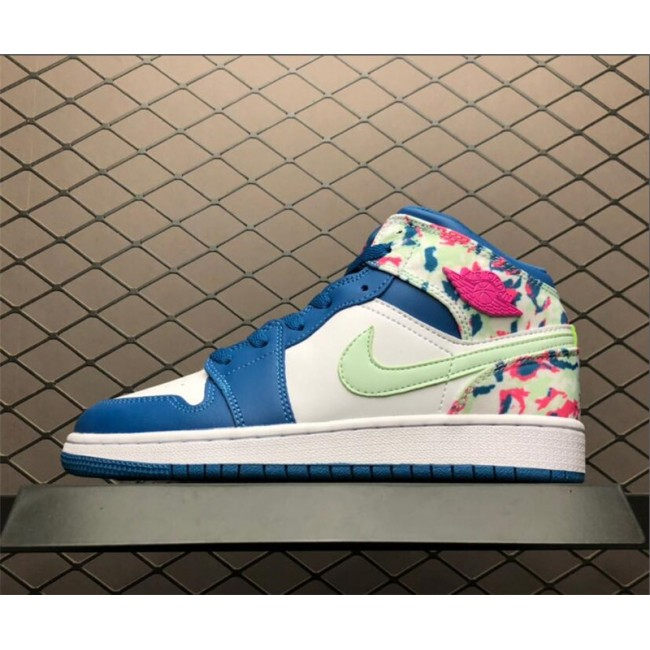 Womens Air Jordan 1 Mid White/Blue-Pink-Green