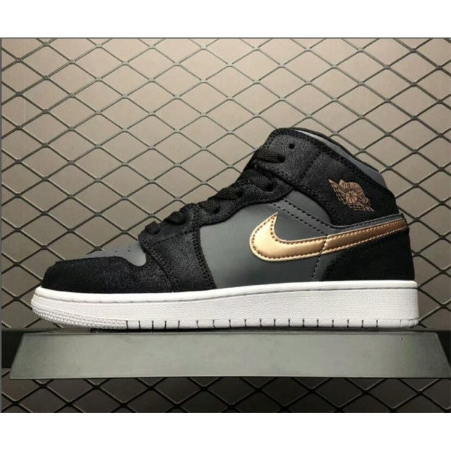 Womens Air Jordan 1 Retro High GS Black Gold