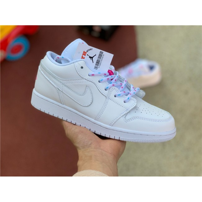 Womens Shoes Air Jordan 1 Low White/Pink-Blue