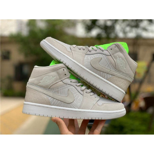 Mens/Womens Air Jordan 1 Mid Vast Grey Ghost Green CV3018-001