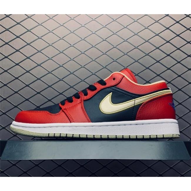 Mens Men Shoes Air Jordan 1 Low Red Black Gold
