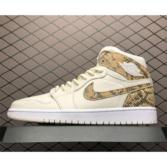 Mens Air Jordan 1 High Snakeskin Phantom/White