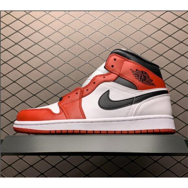 Mens Air Jordan 1 Mid White/Red-Black