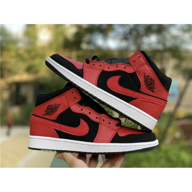 Mens Nike Air Jordan 1 Mid Bred Shoes 554724-054