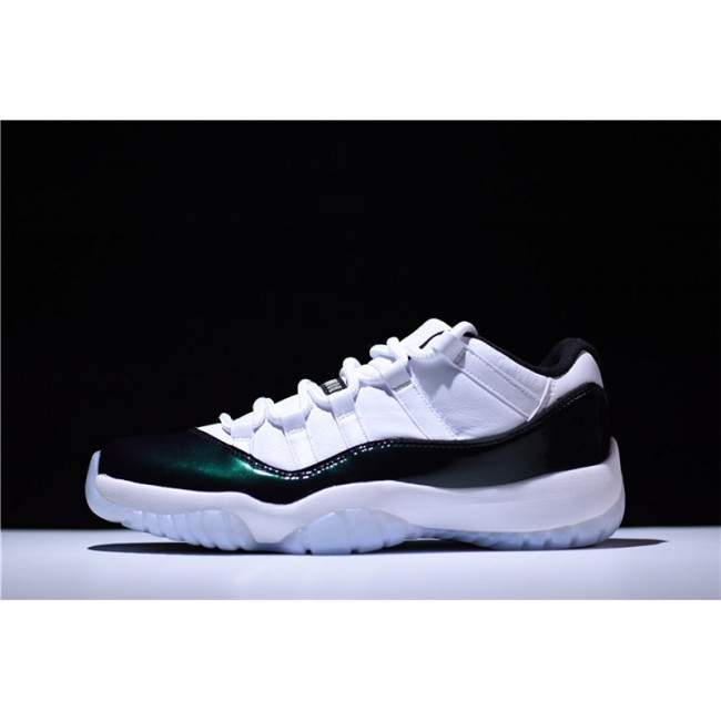 Mens/Womens 2018 Air Jordan 11 Retro Low Easter White/Emerald Rise-Black