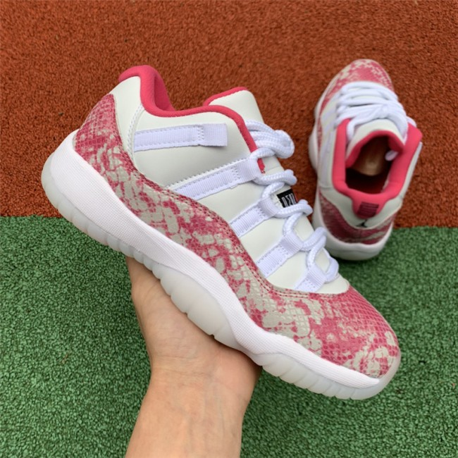 Womens 2019 Air Jordan 11 Low Pink Snakeskin Girls Jordan Shoes